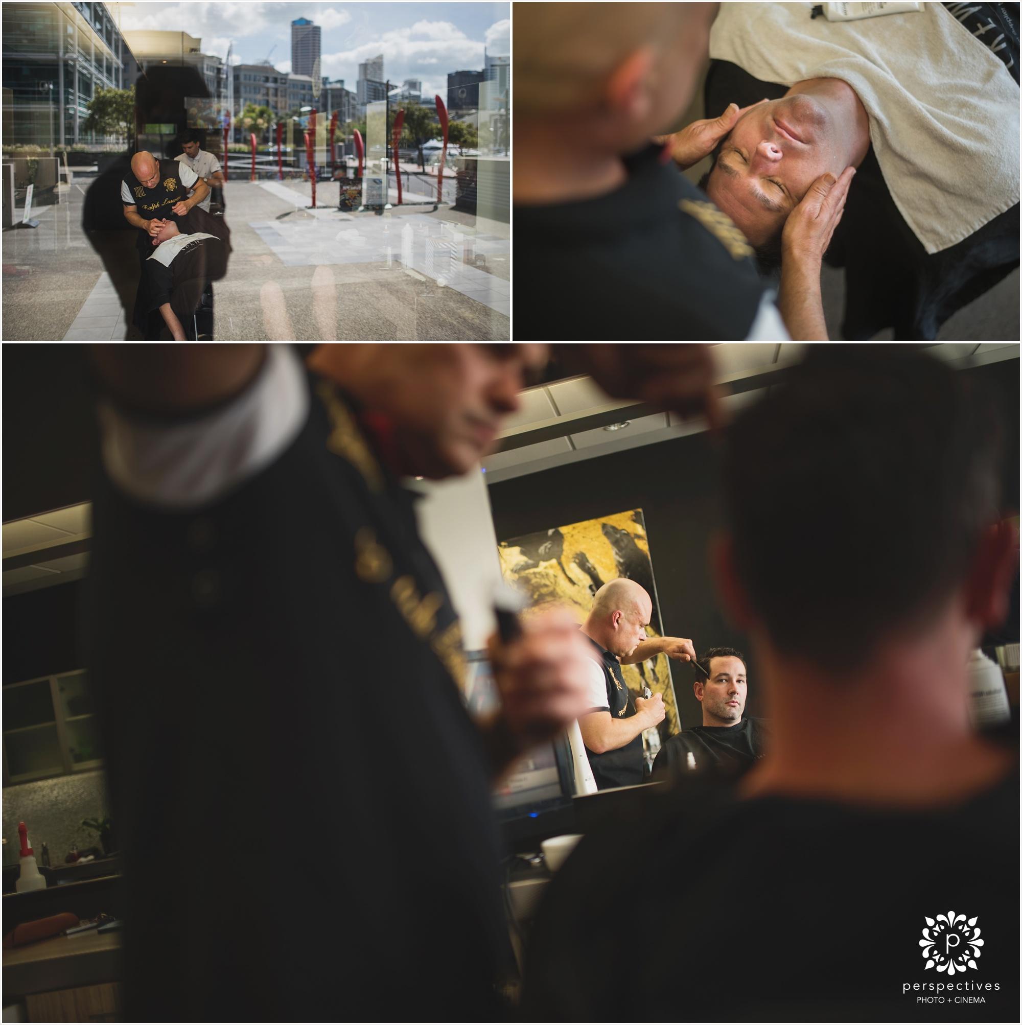 groom shaving wedding