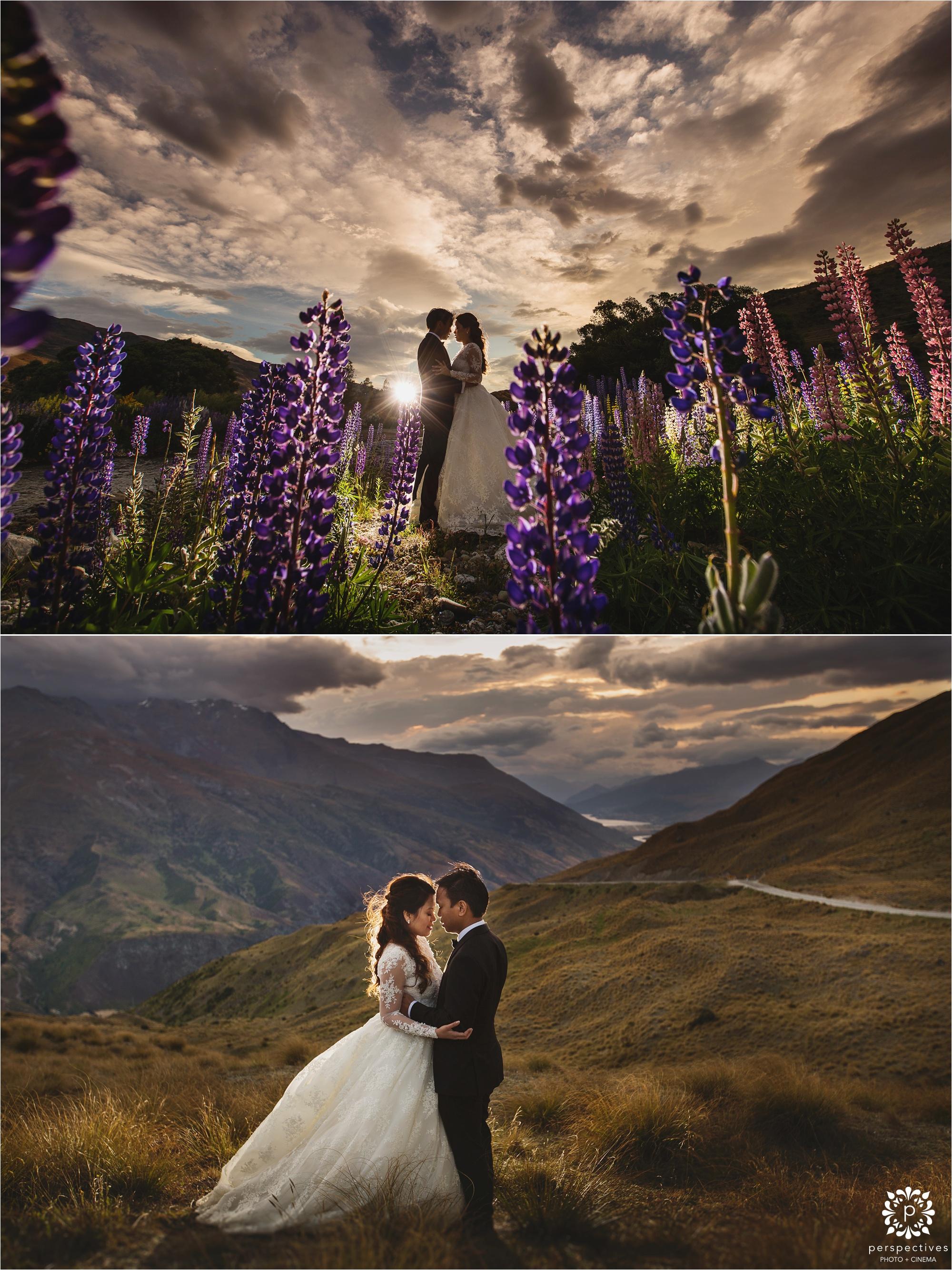 Queenstown lupin wedding photos