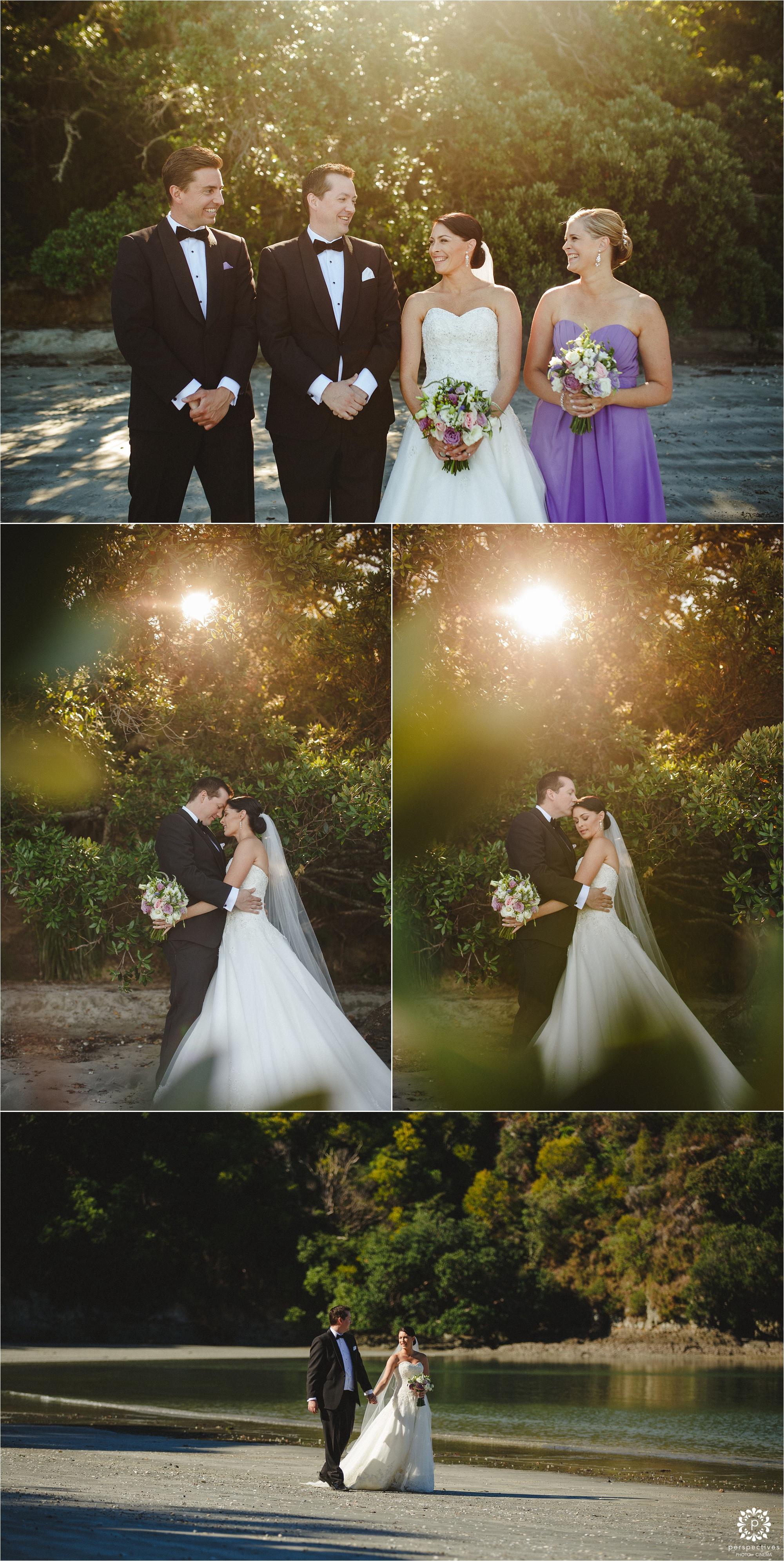 Waiheke beach wedding photos