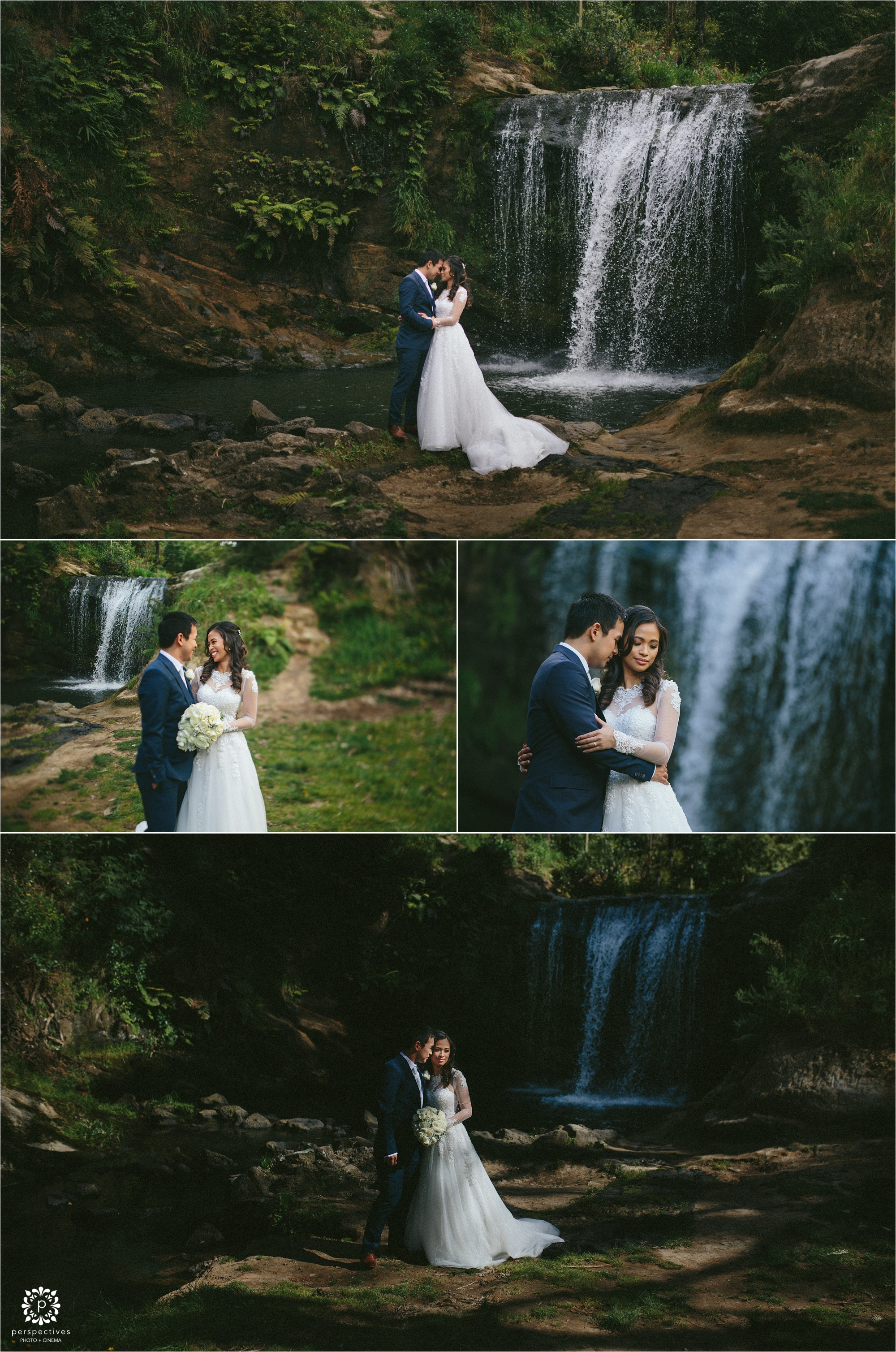 Auckland waterfall wedding