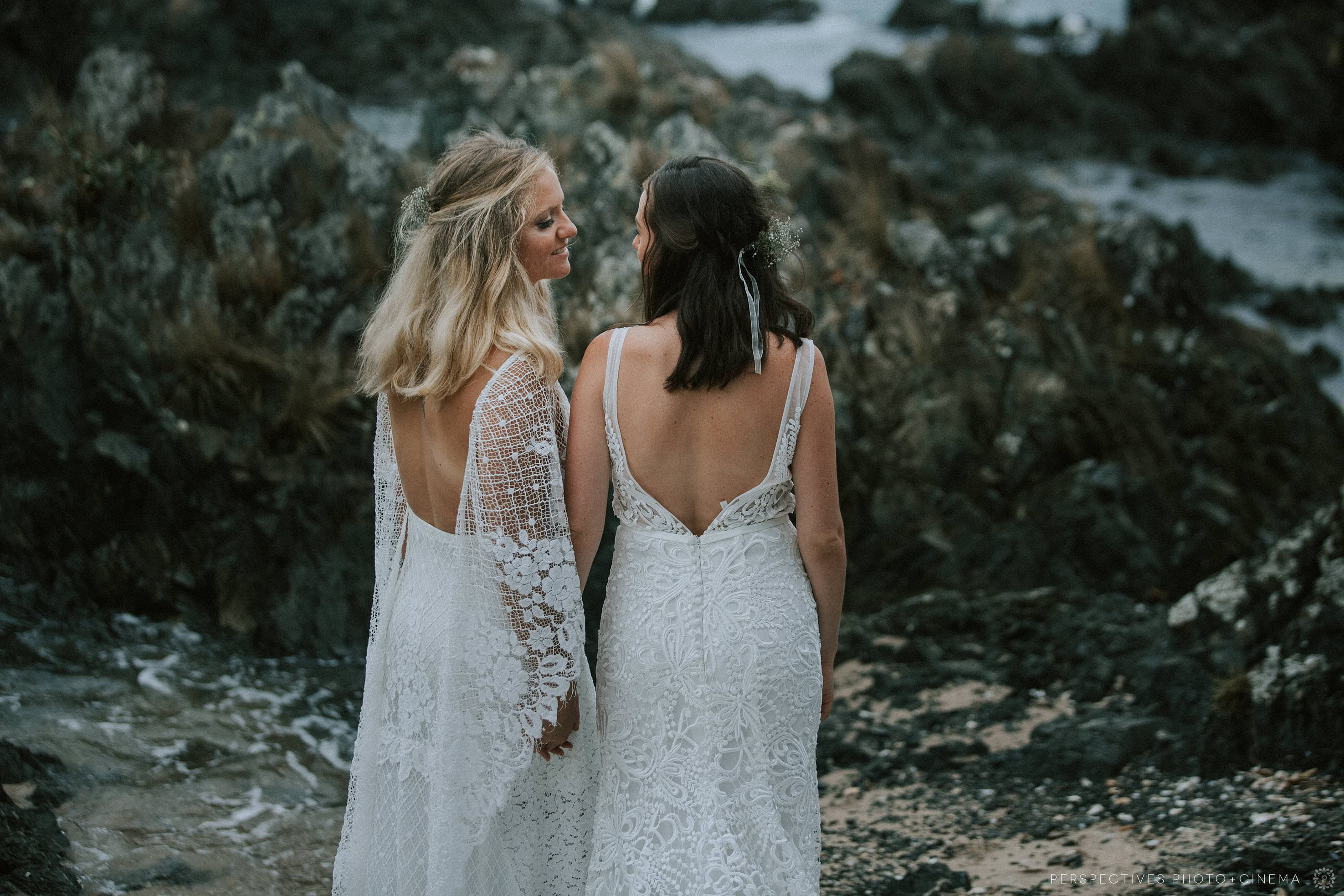 same sex beach wedding