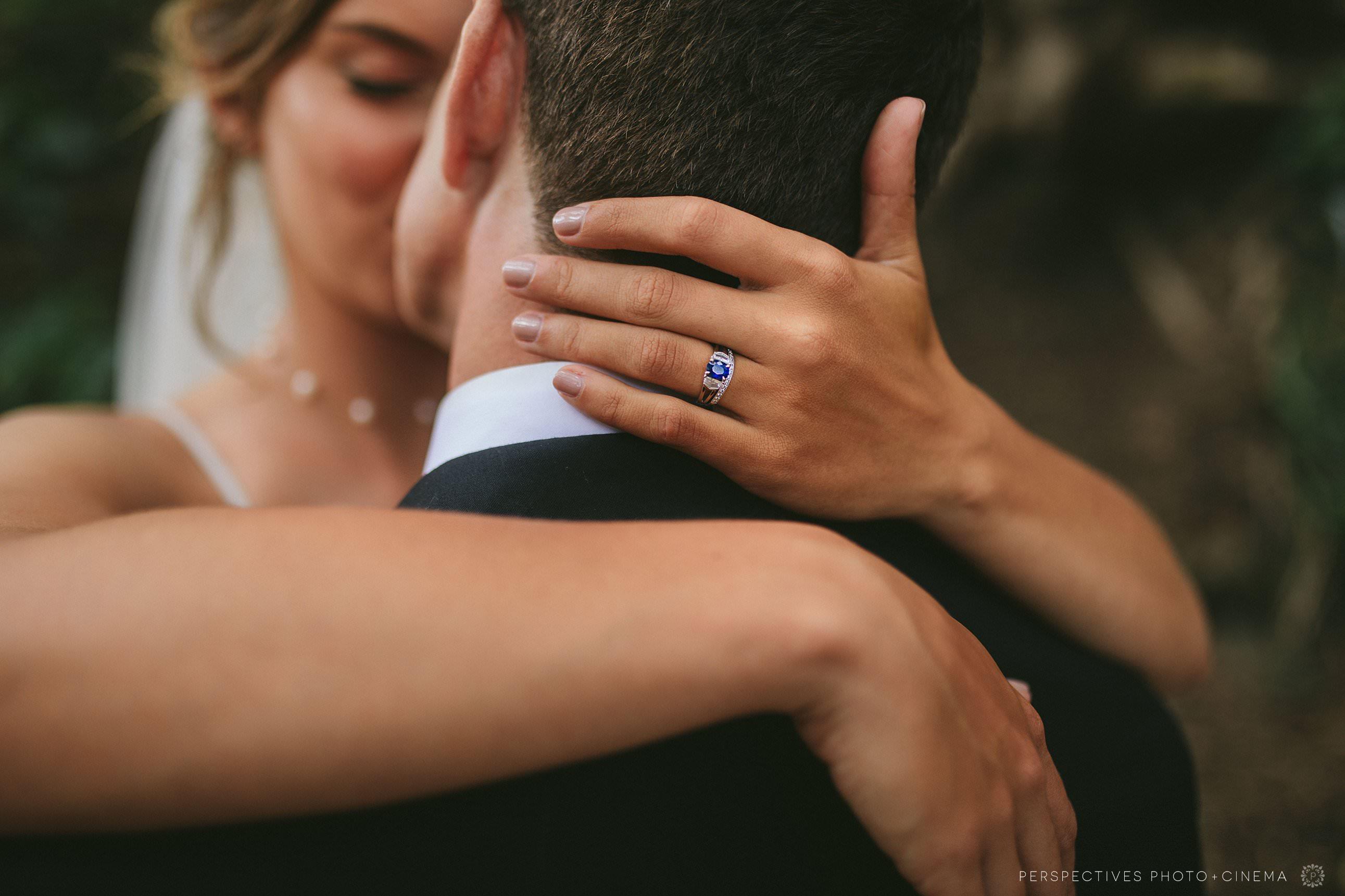 Blue engagement ring wedding photos