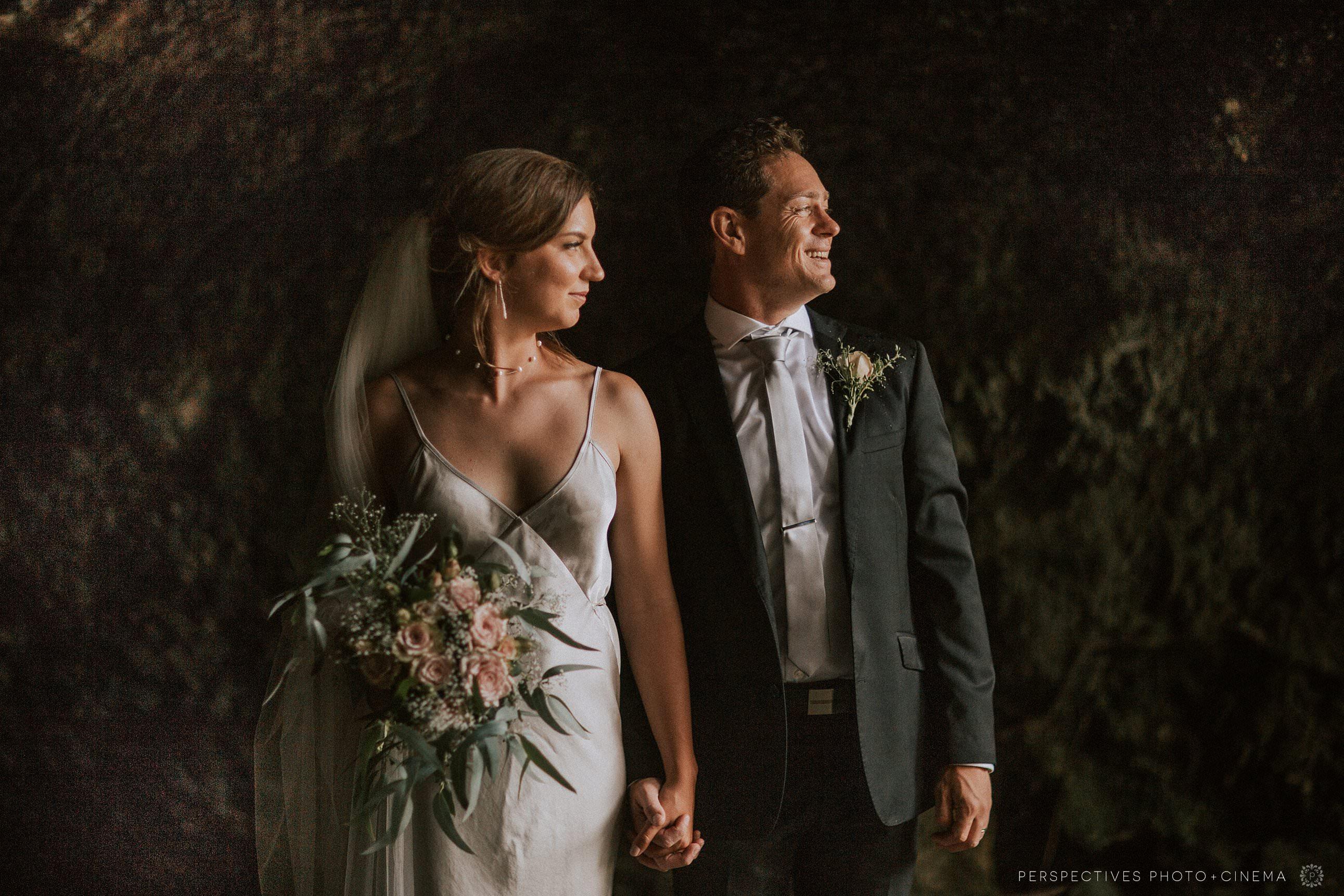 wedding photos inside cave Piha Beach Auckland Barnett Hall