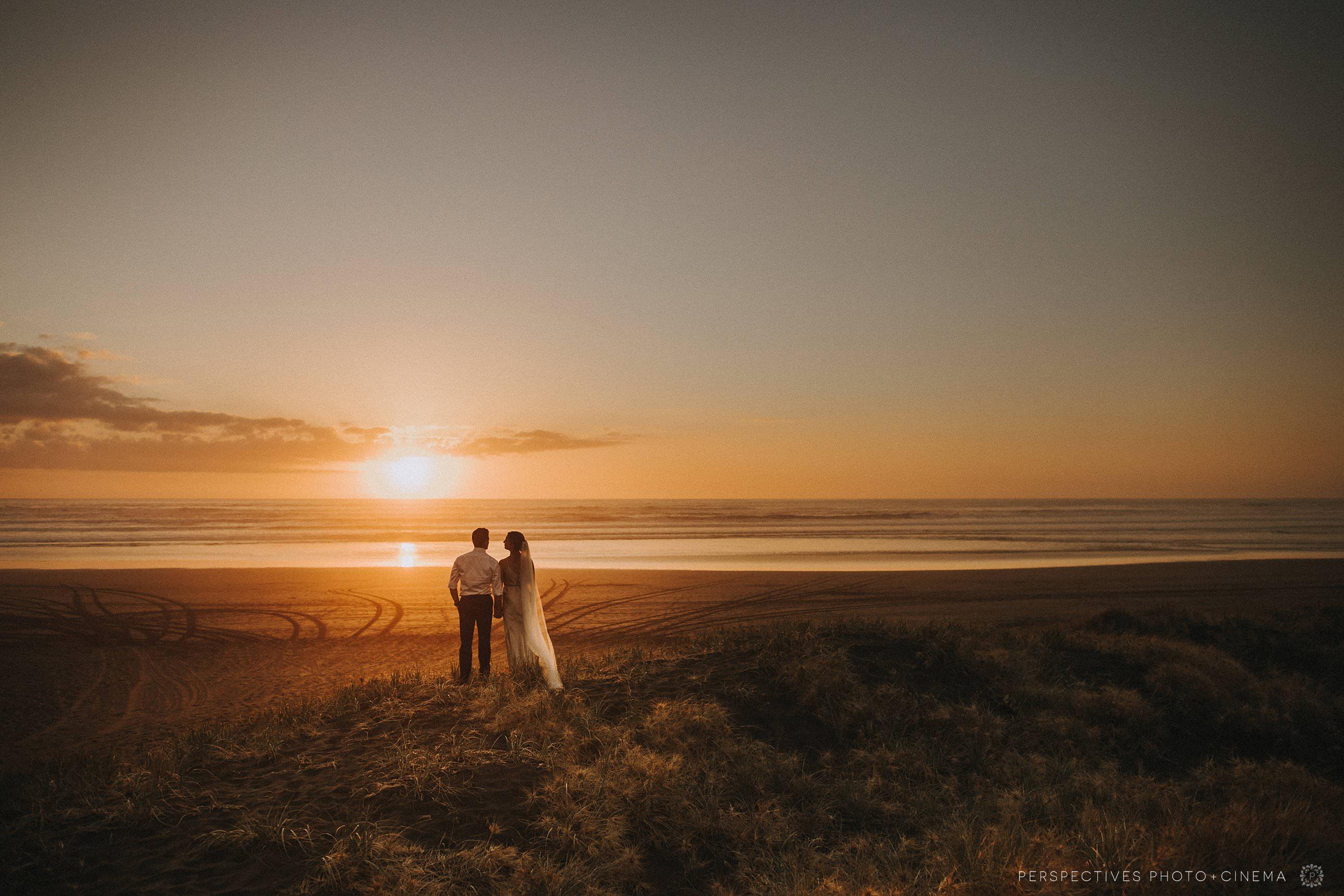 Piha sunset wedding photos Barnett Hall