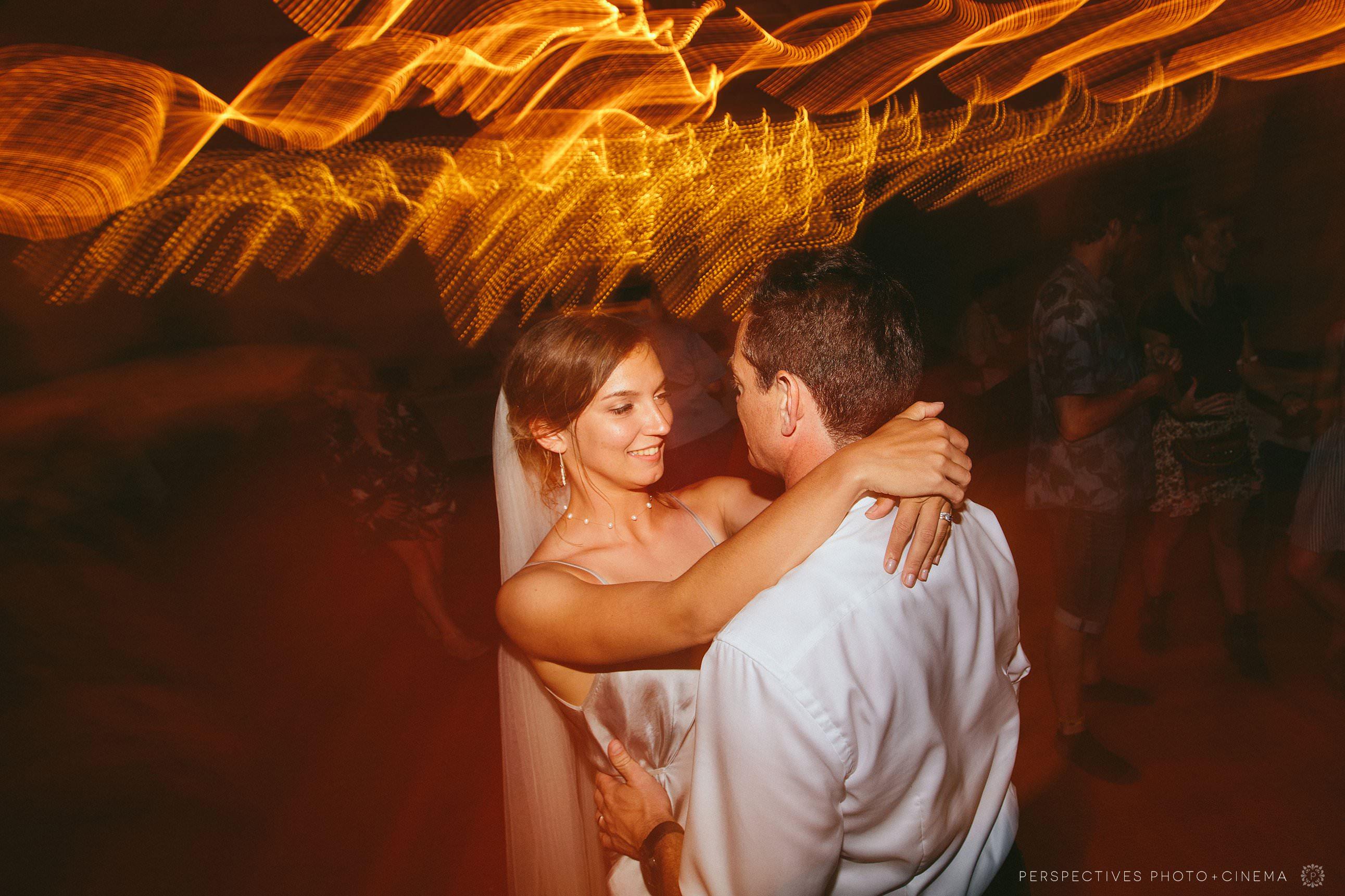 Bride and groom on dancefloor Piha wedding Auckland