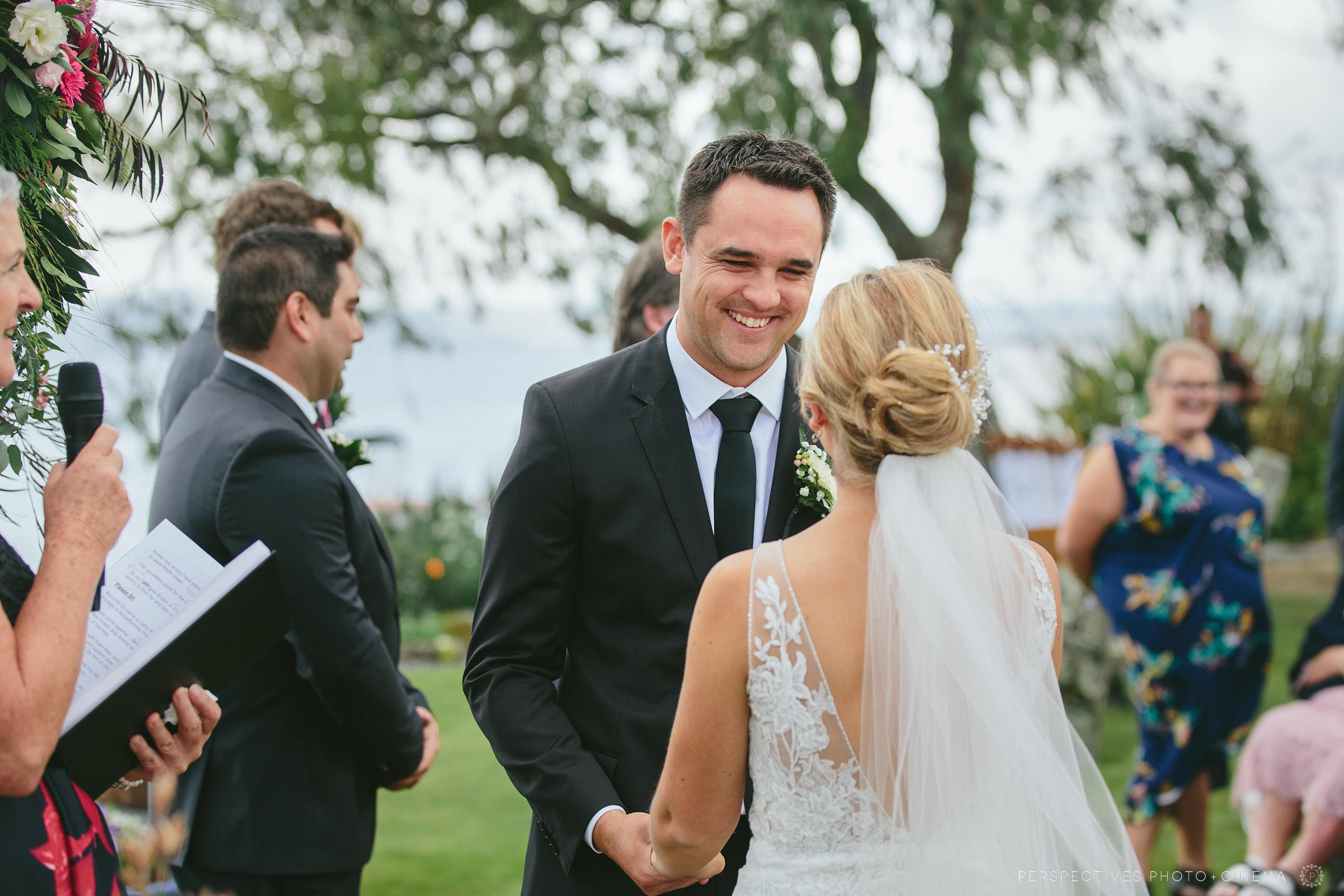 Taupo wedding photos - groom during ceremony