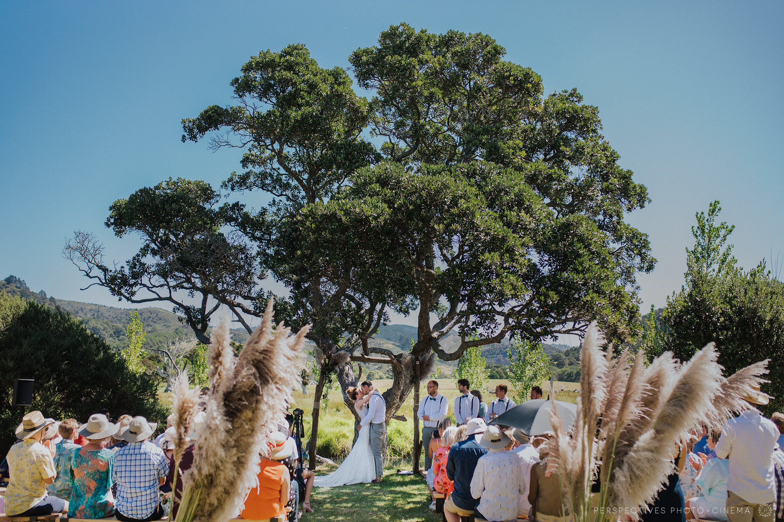 First kiss in wedding ceremony Whangapoua Coromandel