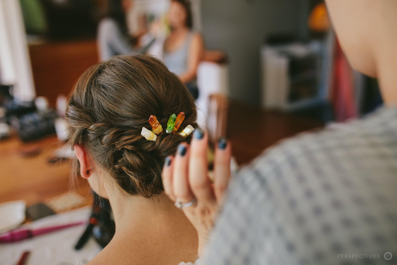 Gemstones in hair bridal hairstyle