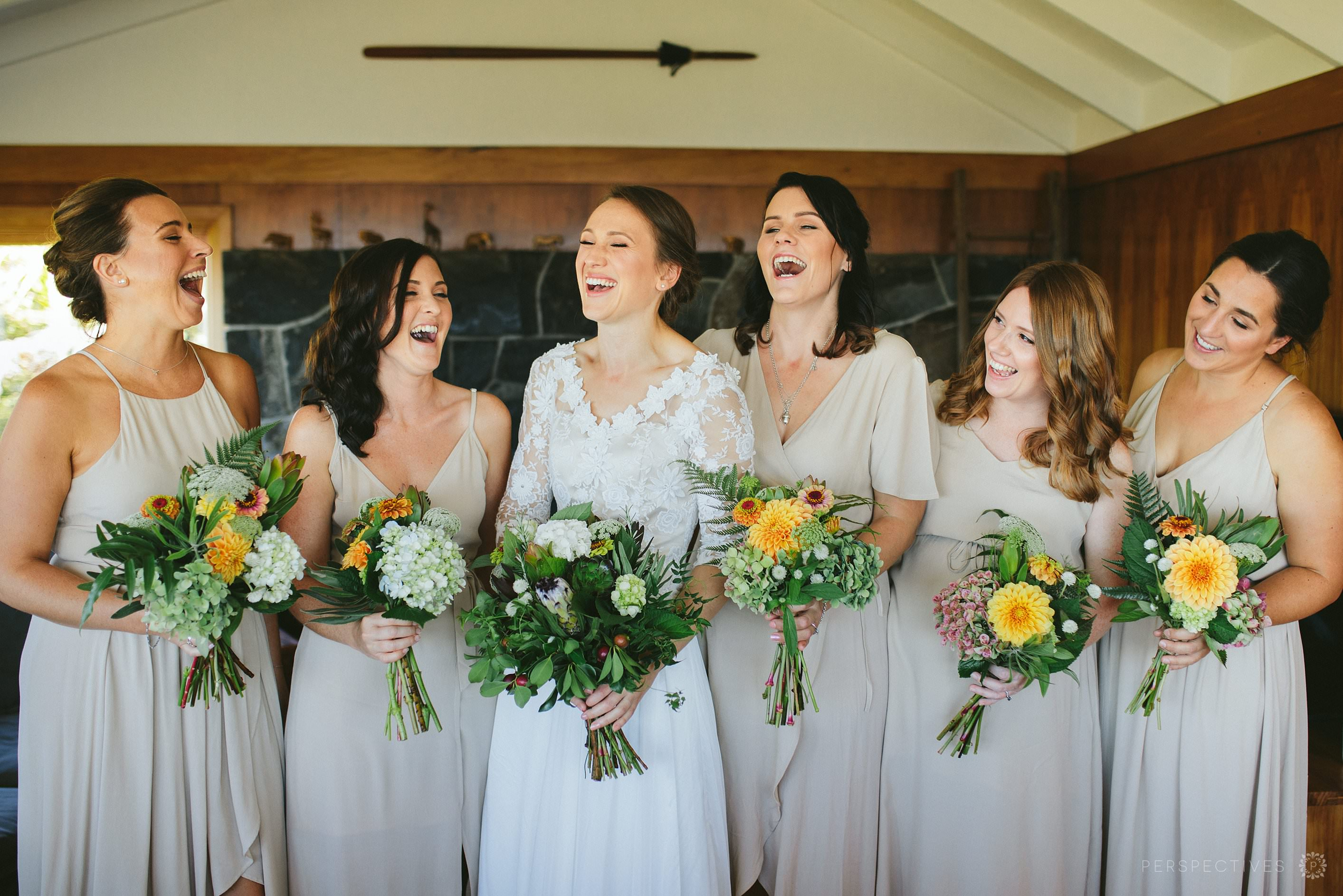 Bridesmaids with homemade DIY bouquets