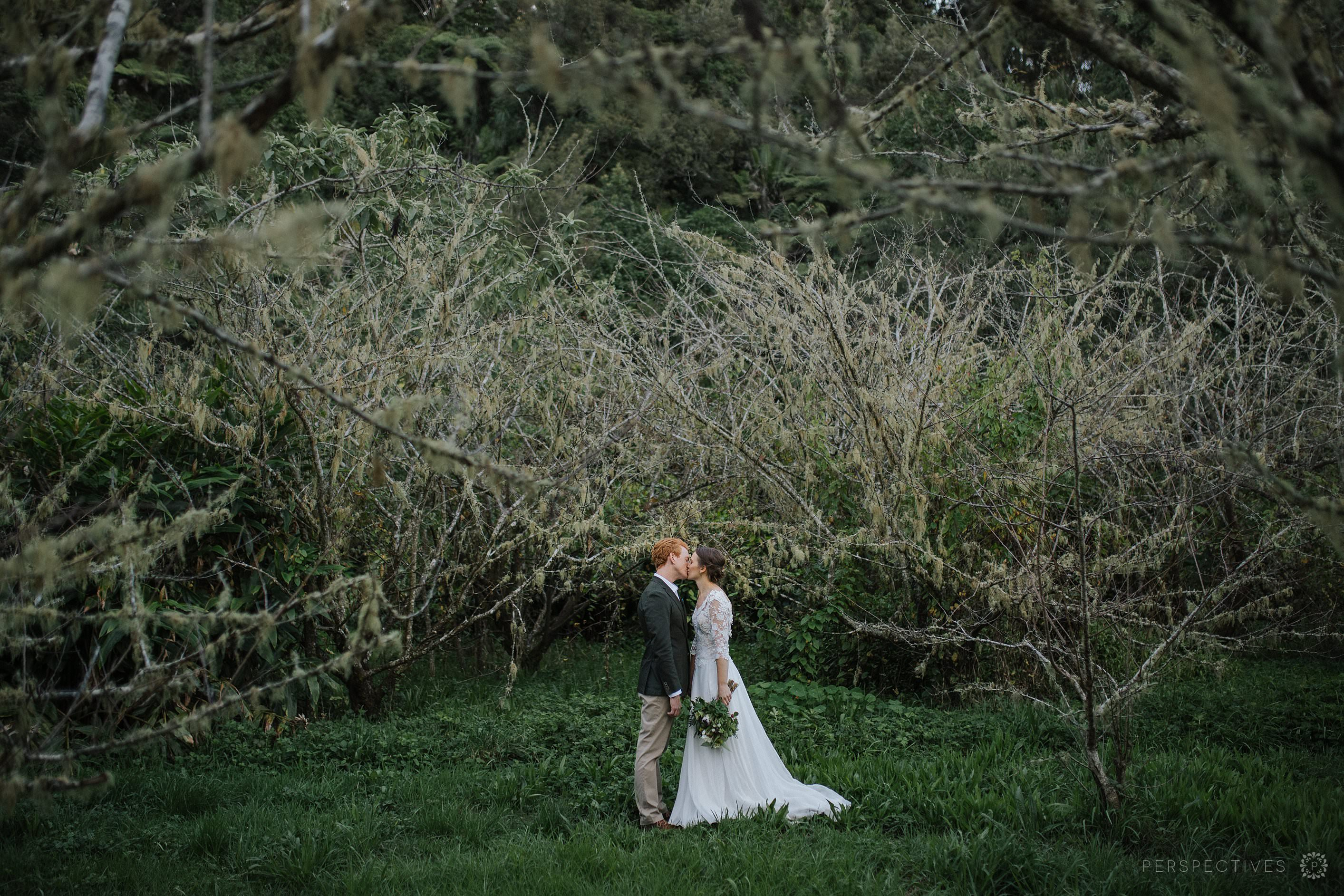 Rustic orchard wedding photo location Auckland