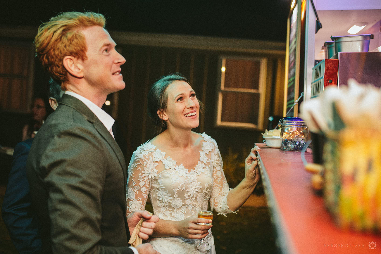 Food trucks at wedding reception Auckland