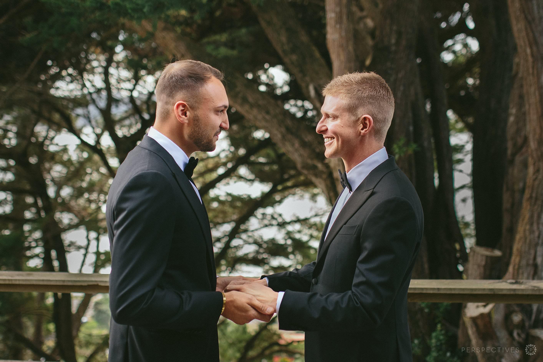 First look same sex wedding Waiheke Tantalus