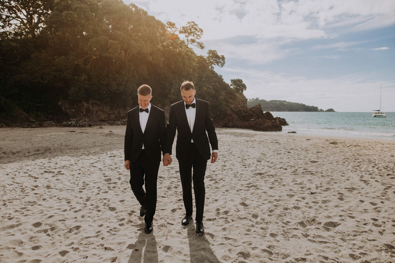 Waiheke Tantalus estate beach wedding photos same sex two grooms