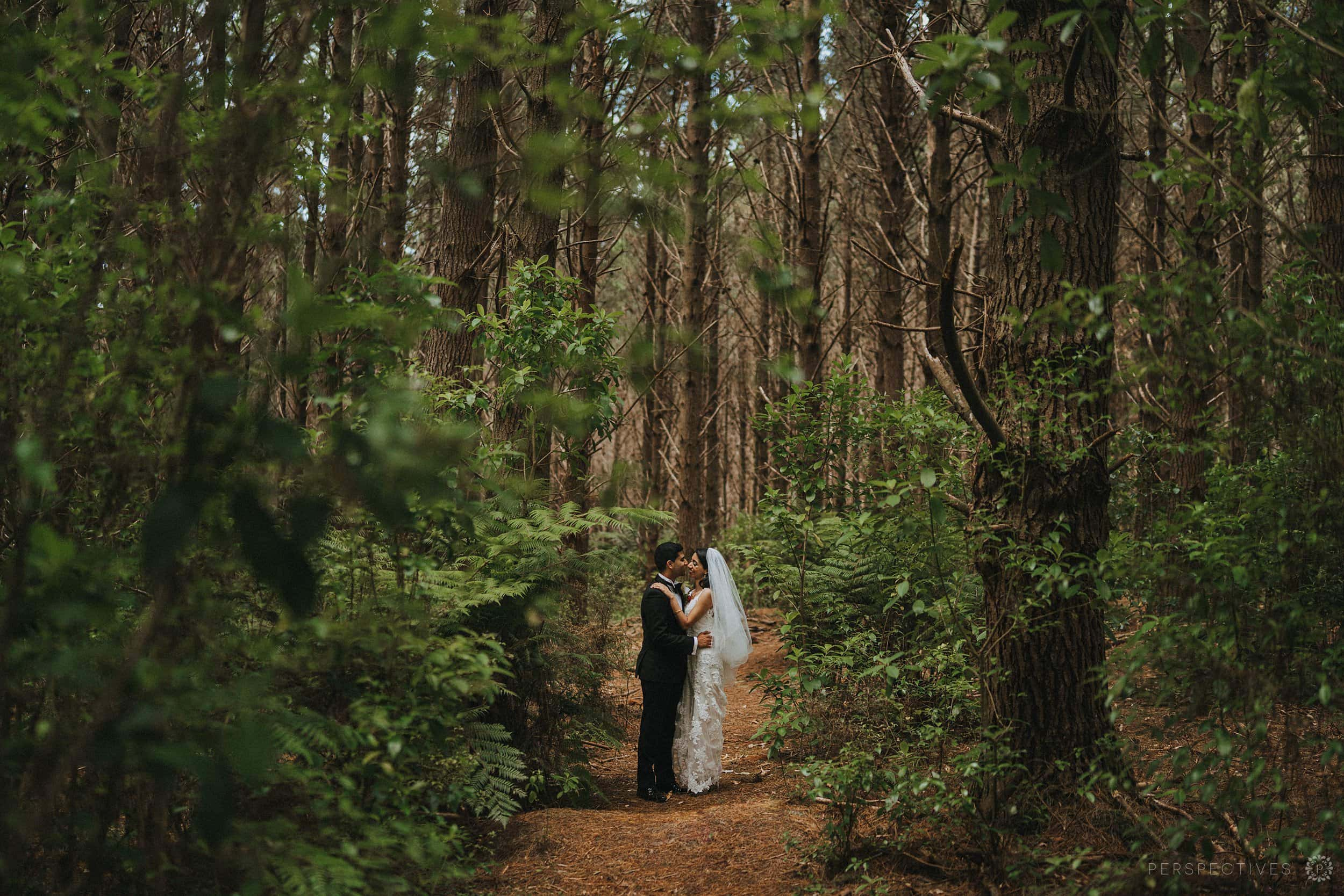 bride groom in forest