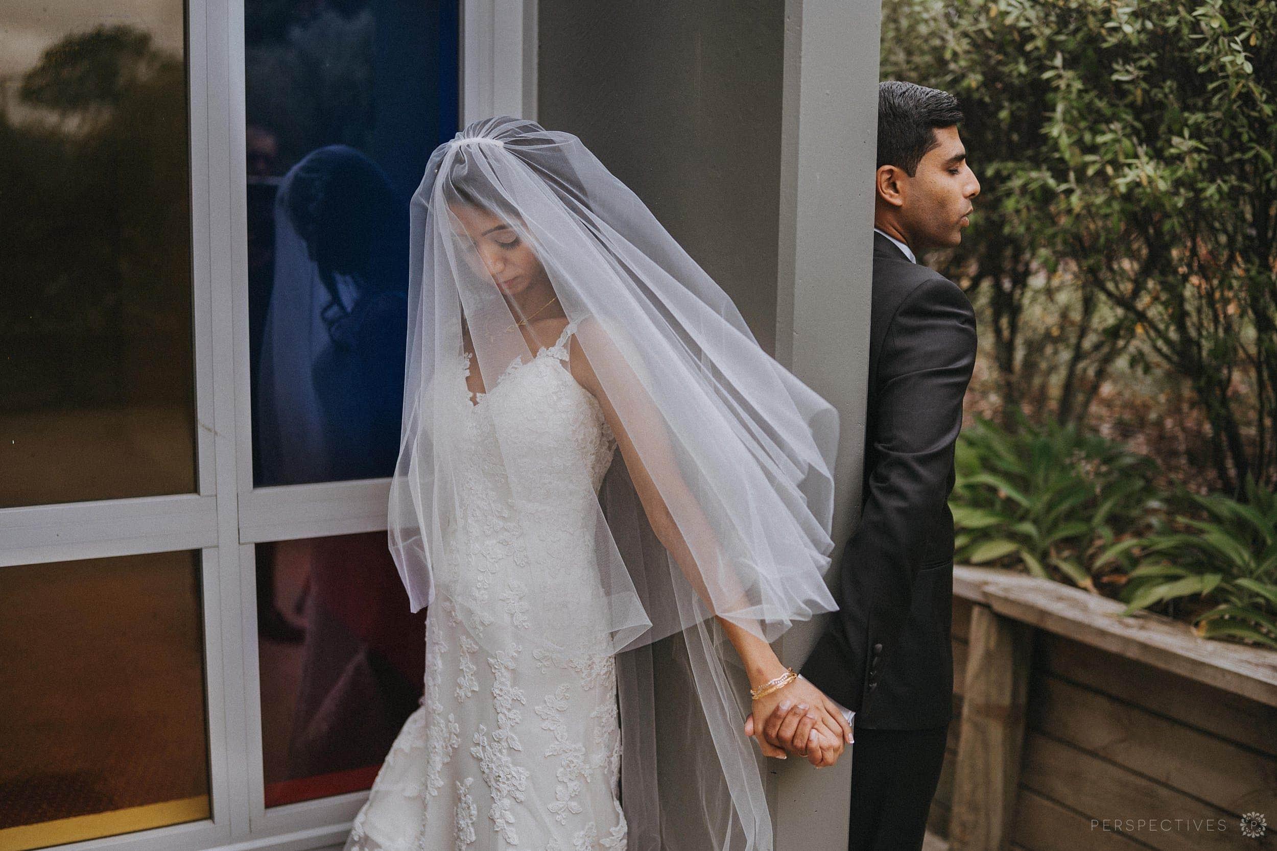 First look Auckland wedding