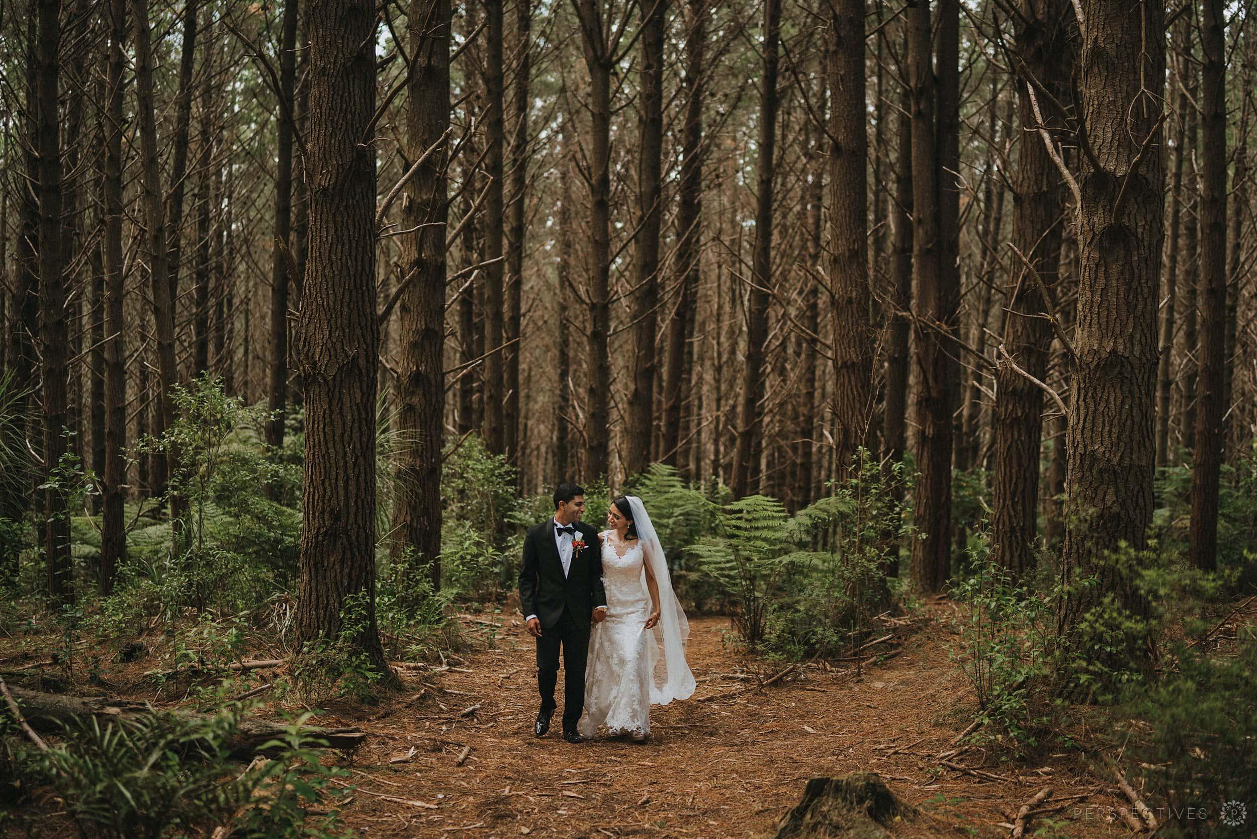 Forest wedding photo location Auckland Markovina