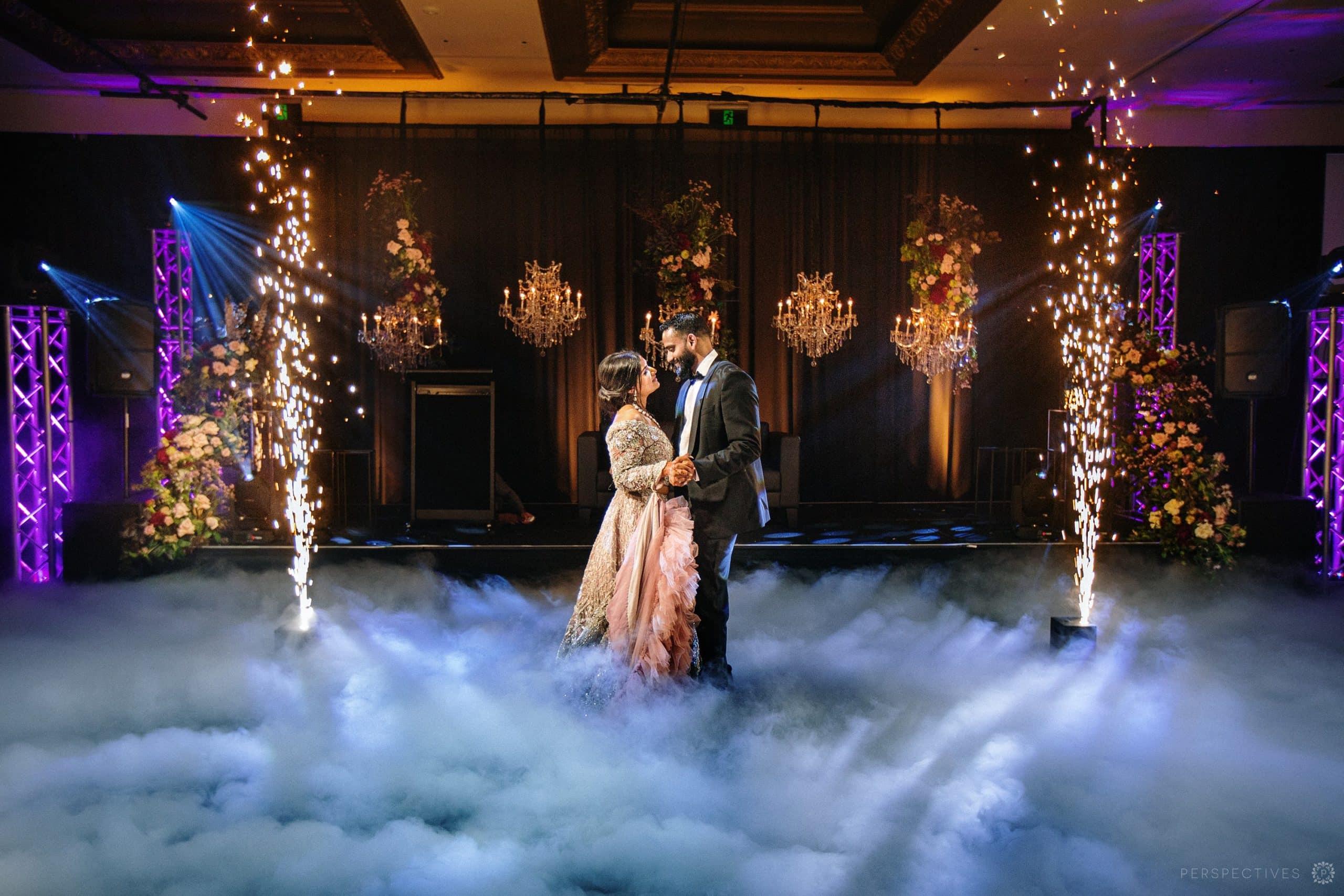 Indian wedding dancefloor smoke machine fireworks Auckland Cordis hotel