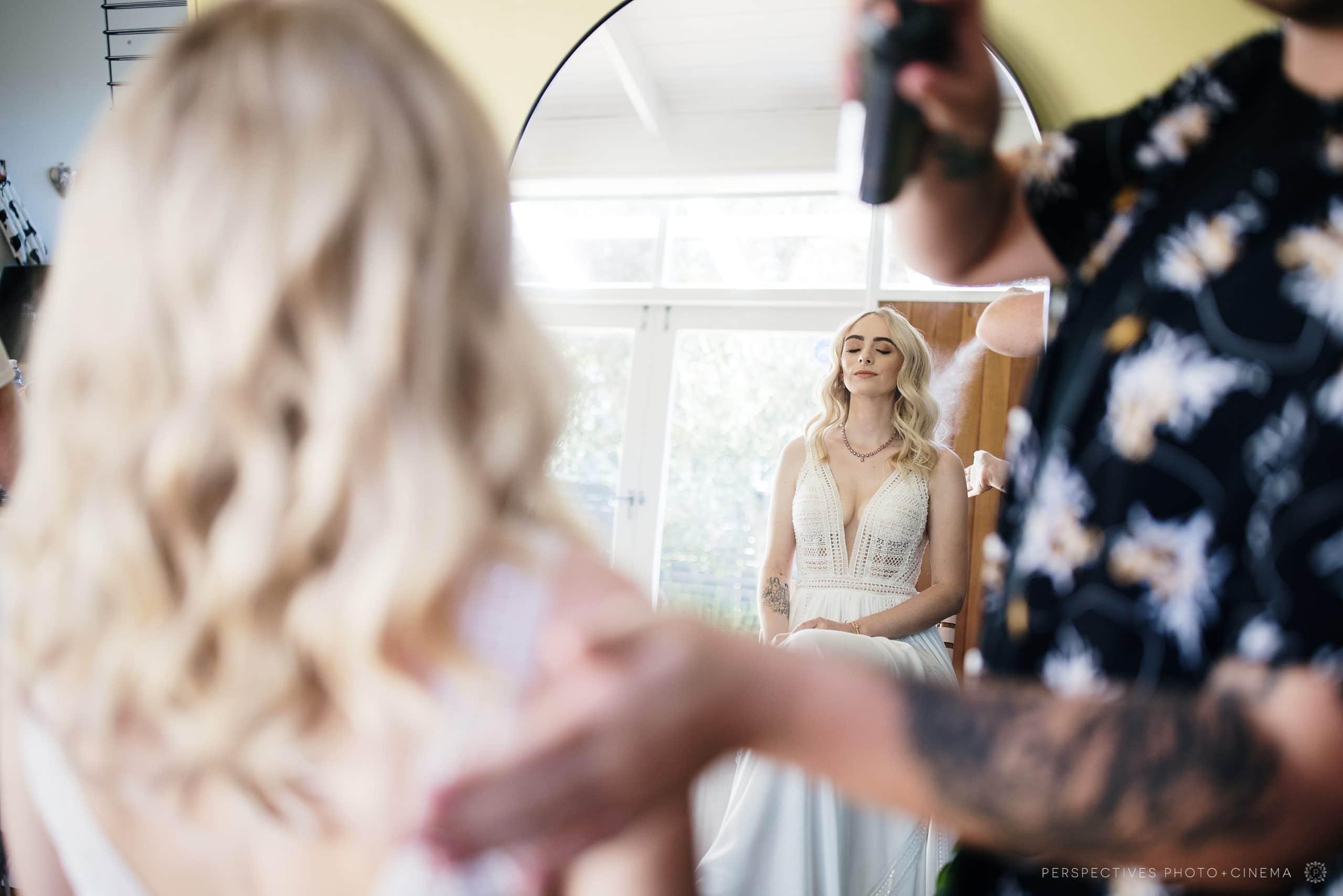 The peach club wedding hair and makeup